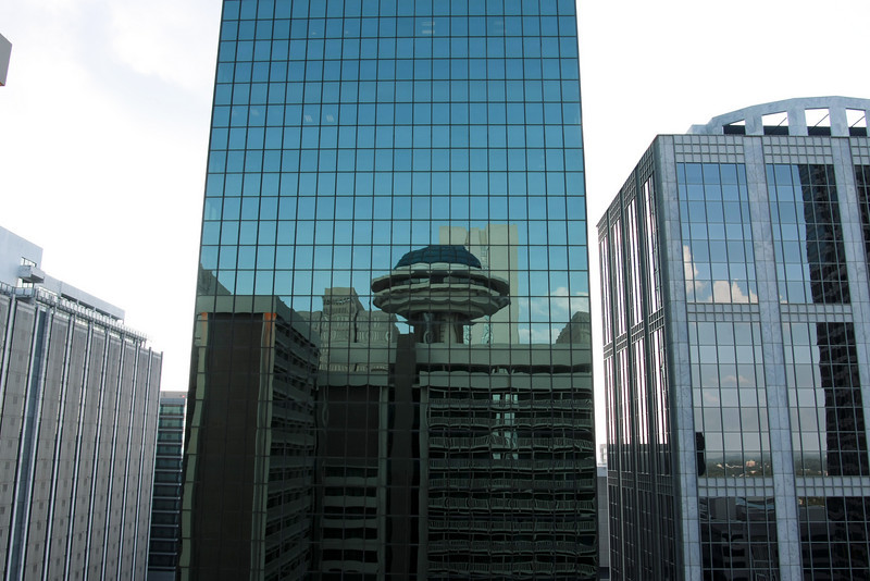 Reflection of the Hyatt hotel