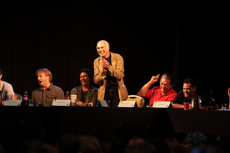 Kevin R. Grazier is the science advisor, Richard Hatch plays Tom Zarek, Michael Hogan portrays Colonel Saul Tigh, Edward James Olmos plays Admiral William Adama, and Aaron Douglas portrays Chief Galen Tyrol in the Sci-Fi channel's series Battlestar Galactica.