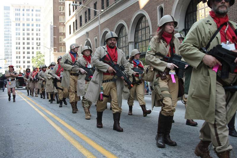 Firefly Browncoats participanting in the 2008 DragonCon Parade down Peachtree Street.