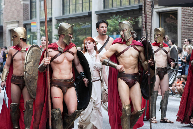 From the movie 300, participants in the 2008 DragonCon Parade down Peachtree Street.