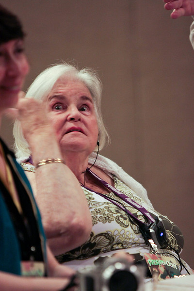 "Anne McCaffrey at the ""Bob AsprinÕs Last Bad Joke"" panel."