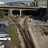 CNN center and Philips Arena. You can see the railroad tracks that travel under and between the buildings.
