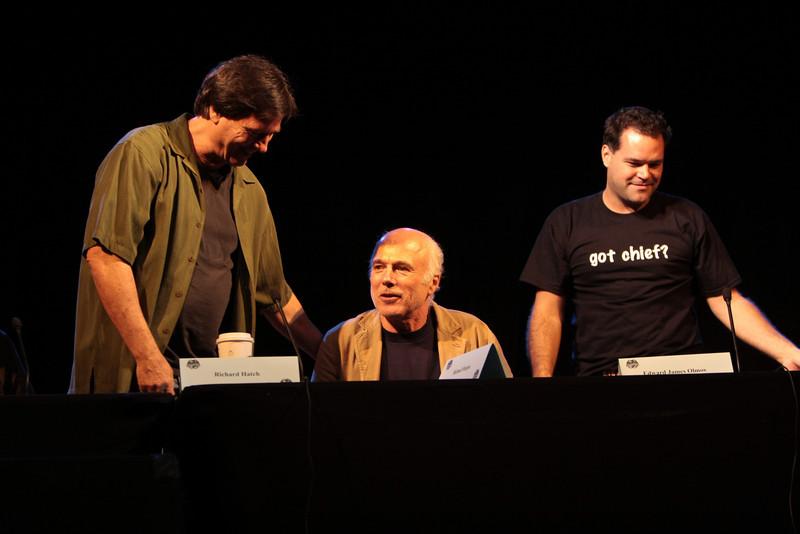 Richard Hatch plays Tom Zarek, Michael Hogan portrays Colonel Saul Tigh, and Aaron Douglas portrays Chief Galen Tyrol in the Sci-Fi channel's series Battlestar Galactica.