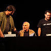 Richard Hatch plays Tom Zarek, Michael Hogan portrays Colonel Saul Tigh, and Aaron Douglas portrays Chief Galen Tyrol in the Sci-Fi channel's series Battlestar Galactica.
