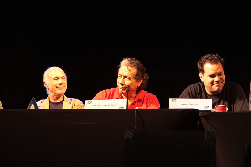 Michael Hogan portrays Colonel Saul Tigh, Edward James Olmos plays Admiral William Adama and Aaron Douglas portrays Chief Galen Tyrol in the Sci-Fi channel's series Battlestar Galactica.