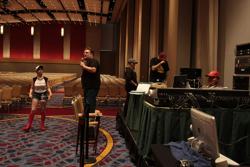 DragonCon staff prepare for a BSG panel