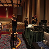 DragonCon staff prepare for a BSG panel