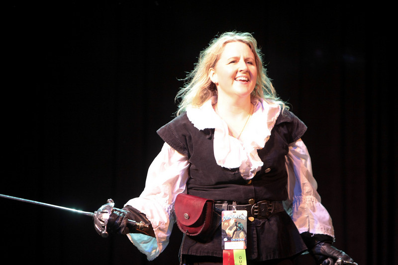 Nicole Harsch of Crossed Swords are the Masters of Ceremonies for the Costume Contest.