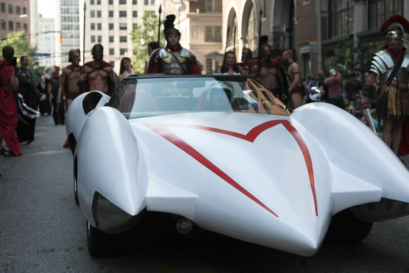 Speed Racer participant in the 2008 DragonCon Parade down Peachtree Street.