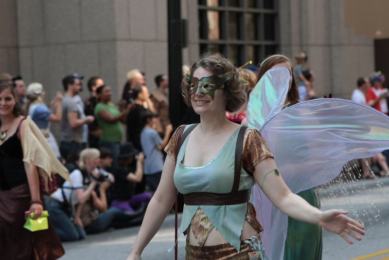 Fairies participating in the 2008 DragonCon Parade down Peachtree Street.