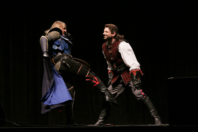 The Crossed Swords entertain the audience during judging at The Friday Night Costuming Contest at DragonCon 2009
