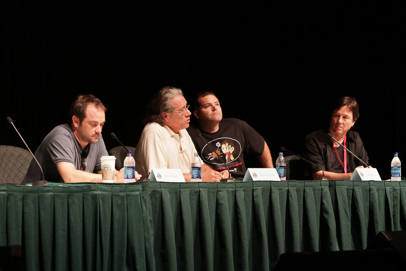 BSG: Cylons and us, the same or different? panel at DragonCon 2010 featuring Mark Sheppard, Edward James Olmos, Aaron Douglas, and Richard Hatch