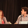 Supergate - Cast of SGU Stargate: Universe with Julie McNiven (Ginn), David Blue (Eli Wallace) at DragonCon 2011