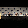 Children of Humanity Battlestar Galactica panel with Michael Hogan (Colonel Saul Tigh), Edward James Olmos (Admiral William Adama), Richard Hatch (Tom Zarek), Tricia Helfer (Number Six), Tamoh Penikett (Captain Karl 'Helo' Agathon), and Kevin Robert Grazier (science advisor) at DragonCon 2011
