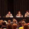 Supergate - Cast of SGU Stargate: Universe with Patrick Gilmore (Dr. Dale Volker), Julie McNiven (Ginn), David Blue (Eli Wallace) at DragonCon 2011