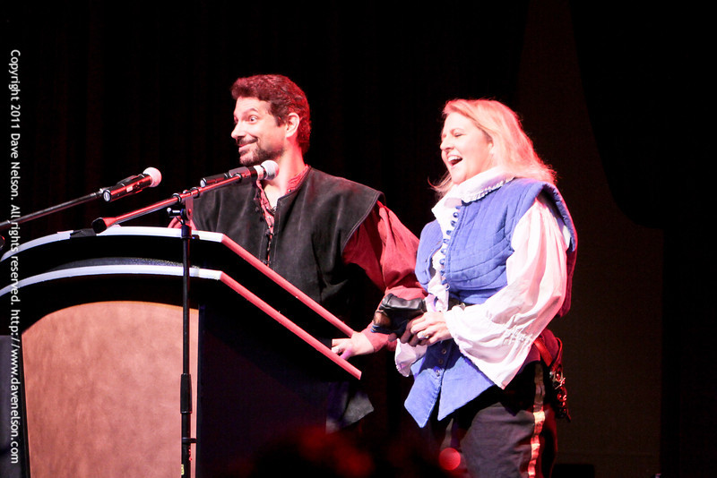 Hosts Nicole Harsch and Mike Sakuta of Crossed Swords host the Friday Night Costuming Contest at DragonCon 2011