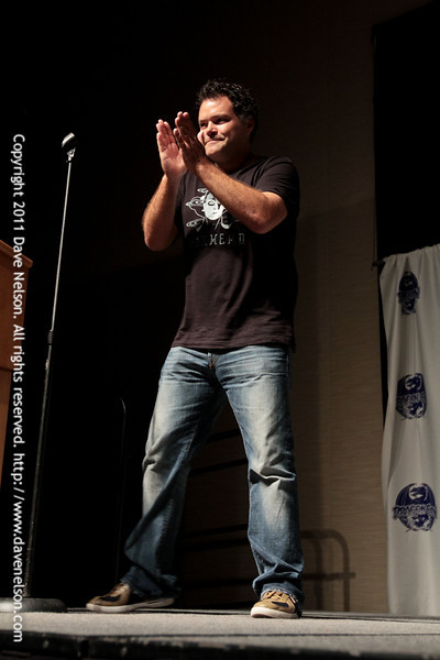 Aaron Douglas, Chief Galen Tyrol on Battlestar Galactica, hosting the 2011 DragonCon Masquerade Costume Contest