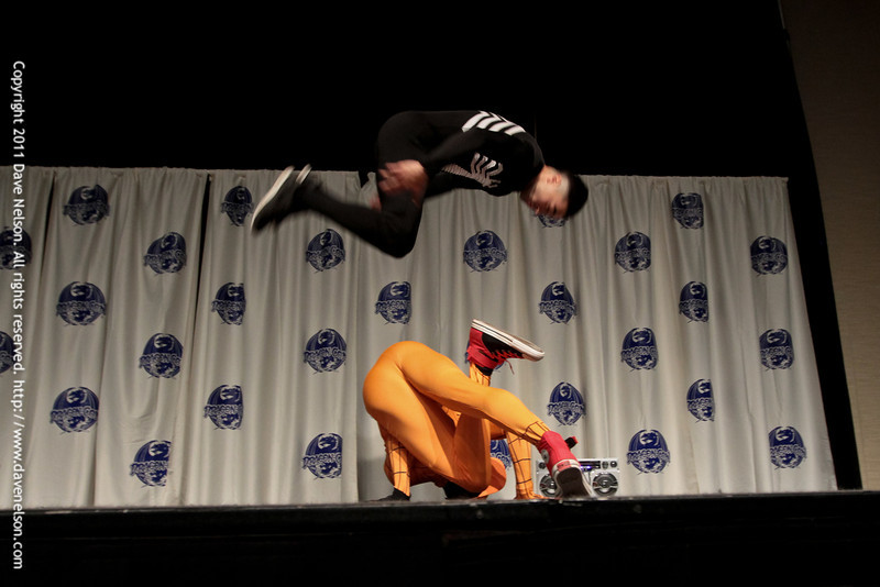 Break Dancing Spidermen at the 2011 DragonCon Masquerade Costume Contest