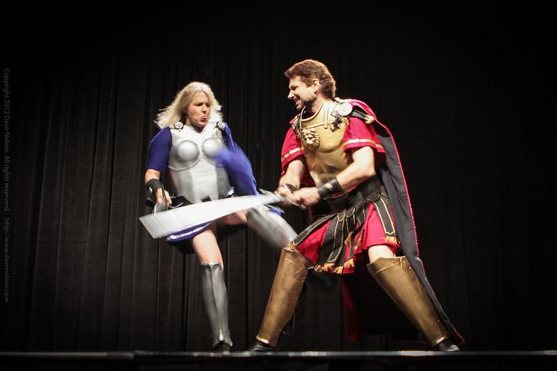 Crossed Swords, Mike Sakuta and Nicole Harsch, MC the Friday Night Costume Contest