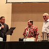 Adam West and Burt Ward receive a proclamation from Atlanta City Councilman Michael Julian Bond