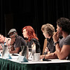 Nelsan Ellis, Carrie Preston, Sam Trammell, and Joe Manganiello at a True Blood panel