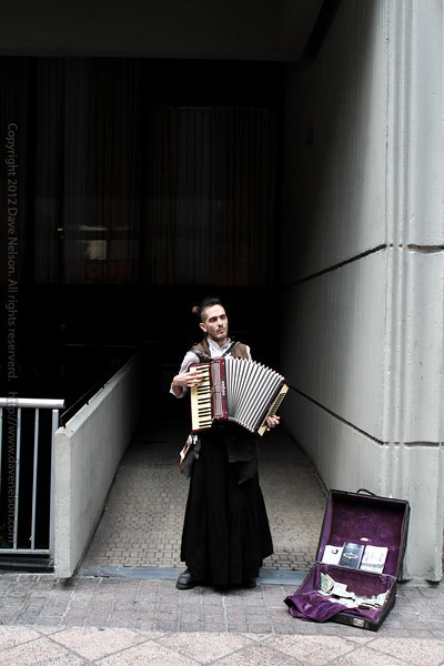 Steampunk accordian street performer