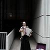 Steampunk accordian street performer