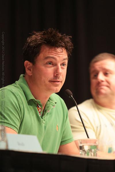 John Barrowman and Kai owen at a panel about Torchwood