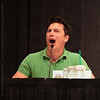 John Barrowman and Kai owen at a panel about Torchwood