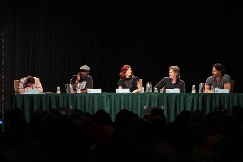 Nelsan Ellis, Carrie Preston, Sam Trammell, and Joe Manganiello at a True Blood panel