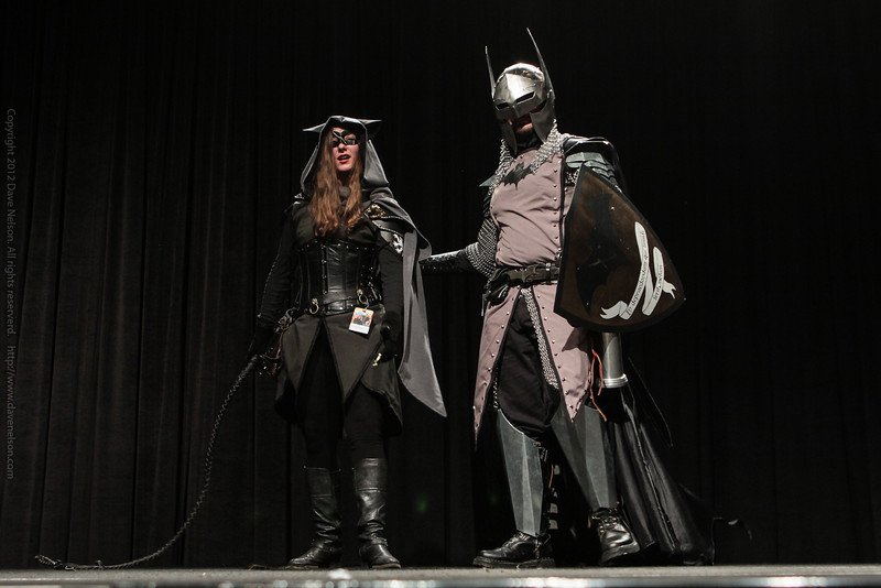 Medieval Batman and Catwoman at the Friday Night Costume Contest