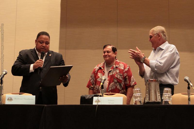 Adam West and Burt Ward receive a proclamation from Atlanta City Councilman Michael Julian Bond