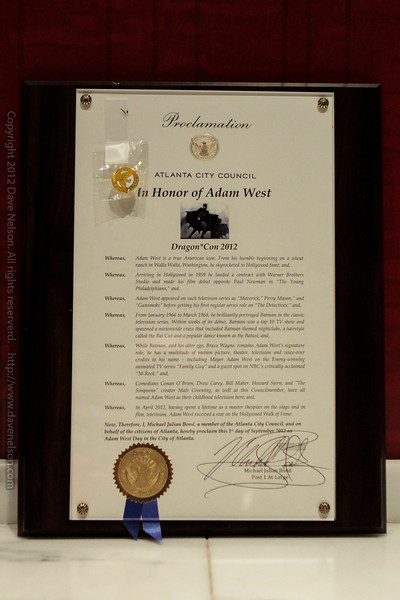 Proclamation from the Atlanta City Council naming September 1st as Adam West day