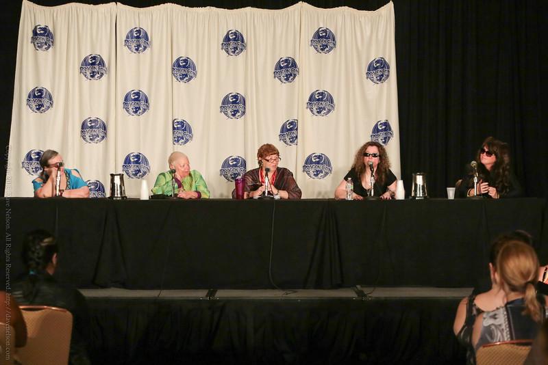 Mercedes Lackey, Chelsea Quinn Yarbro, Nancy Knight, Laurell K. Hamilton, and Sherrilyn Kenyon at DragonCon 2013