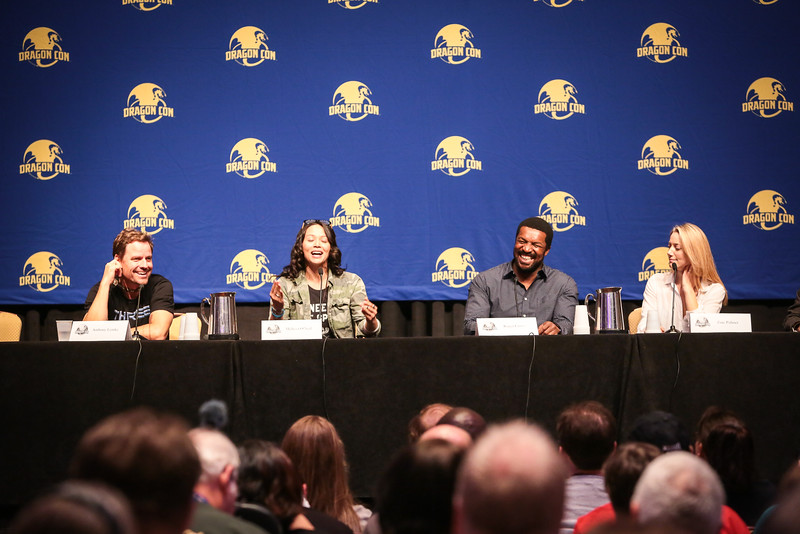 Anthony Lemke, Melissa O'Neil, Roger Cross, and Zoe Palmer at the Dark Matter: Something Shady GOing On panel at DragonCon 2016