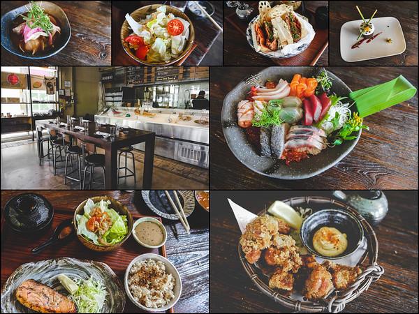 Drangonfly collage - food from top left to right: Ceviche, mini wedge creamy soy salad, pork katsu sando, tangerine cake, chirashi, karaage, robata grilled miso salad.