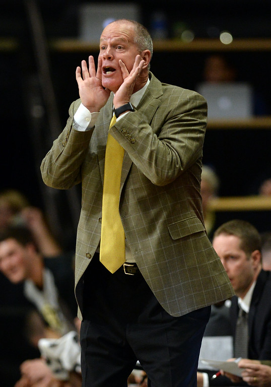 . BOULDER, CO: November 13: University of Colorado\'s head coach, Tad Boyle, during the game with the Drake Bulldogs. (Photo by Cliff Grassmick/Staff Photographer)