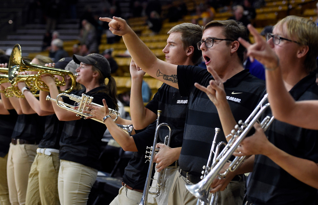 . BOULDER, CO: November 13: The University of Colorado band play during the pregame with the Drake Bulldogs. (Photo by Cliff Grassmick/Staff Photographer)