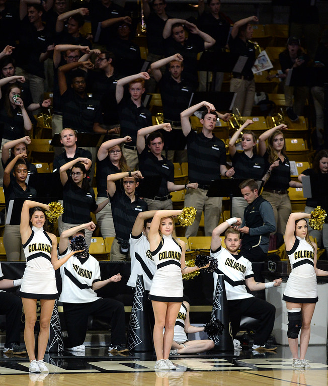 . BOULDER, CO: November 13: The CU band and CU Spirit Squad cheer on the Buffs during the game with the Drake Bulldogs. (Photo by Cliff Grassmick/Staff Photographer)