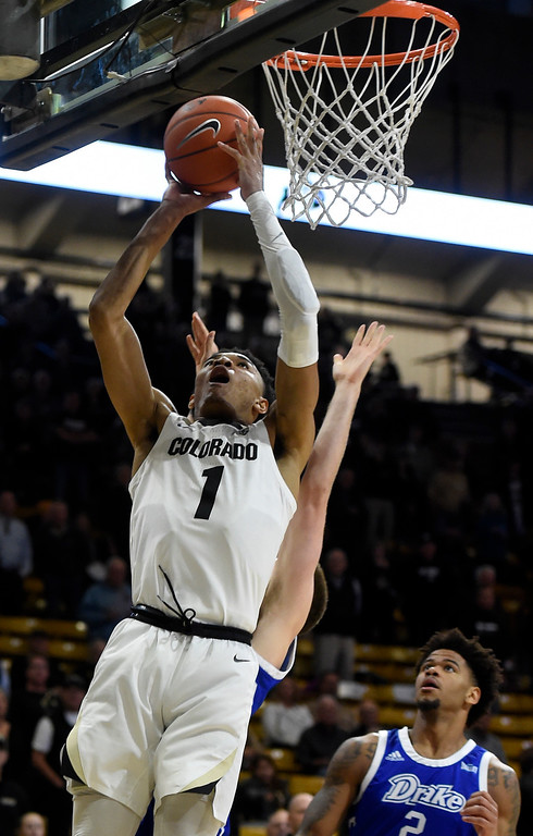 . BOULDER, CO: November 13: University of Colorado\'s Tyler Bey put up a layup during the game with the Drake Bulldogs. (Photo by Cliff Grassmick/Staff Photographer)