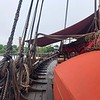 The deck of the Draken, a 115-foot-long modern-built Viking longship.