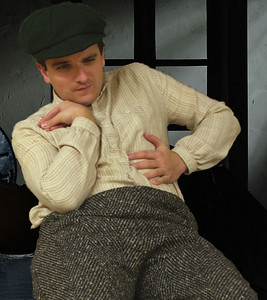 Cripple Billy (played by Oran O'Rua) at one of the more reflective moments in the play