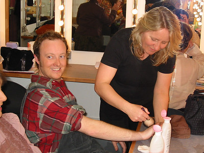Patrick O'Malley in make-up at the Mill Theatre