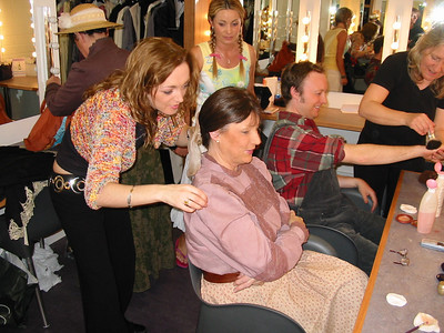 Patricia, Nuala and Patrick in make-up at the Mill Theatre