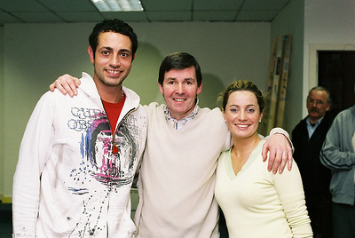 Basil Ashmawy (George Gibbs), Declan Brennan (Stage Manager) and Niamh Daly (Emily Webb)