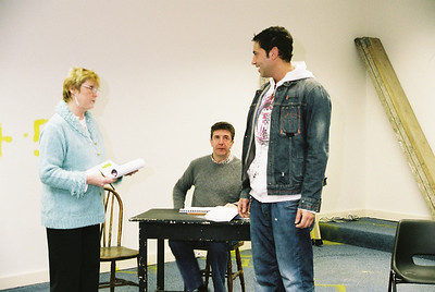 Nuala, Gordon and Basil in rehearsal at the old Remax shop