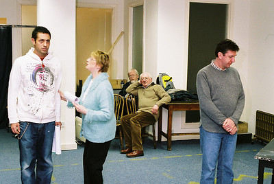 Basil, Nuala and Gordon in rehearsal at the old Remax shop