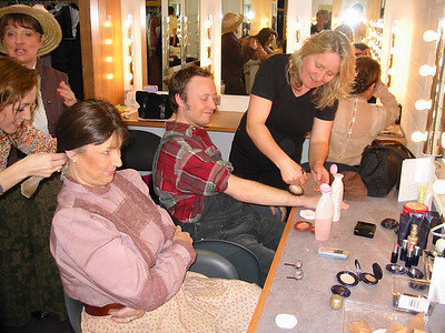Nuala Kirby and Patrick O'Malley in make-up at the Mill Theatre