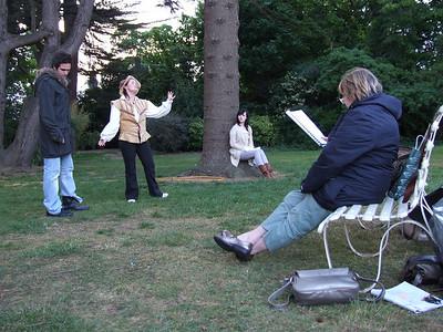 Rehearsal: Ciaran Dwyer, Niamh Daly, Siamha Ni Aonghusa and Karen Carleton (Director)