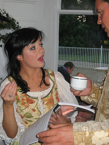 Siamha Ni Aonghusa (Celia, daughter of Duke Frederick) & Rupert Heather (Oliver De Boys) with Len Nealon in the background